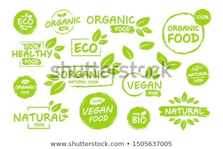 Eco Product, bio organic leaf emblem, sticker or logo. Vector illustration isolated on white backgro Stock photo © kyryloff