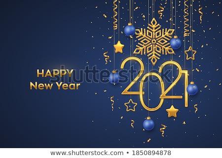 Nouvelle année or glitter flocon de neige carte de vœux luxe Photo stock © cienpies