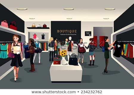 Female Shopaholic Shopping in Clothes Store Vector Stock photo © robuart
