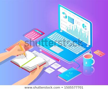 Werkplek laptop nuttig desktop vector banner Stockfoto © robuart