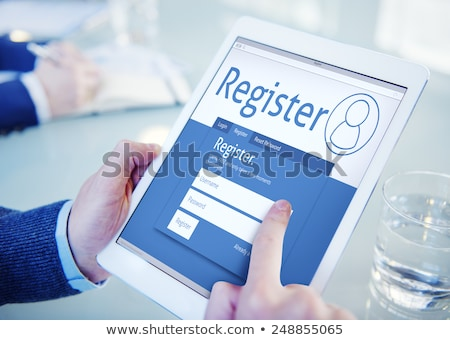 Digital Tablet With Online Registration Form On Screen Stock photo © AndreyPopov
