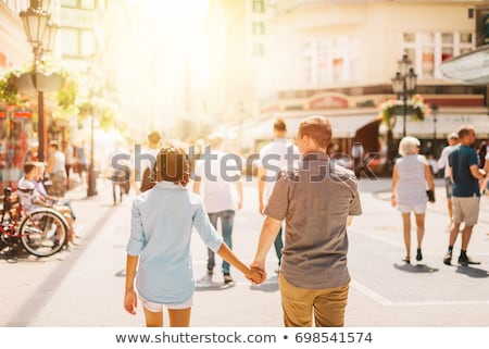 Loving couple walking and having fun in Budapest, Hungary Stock photo © boggy