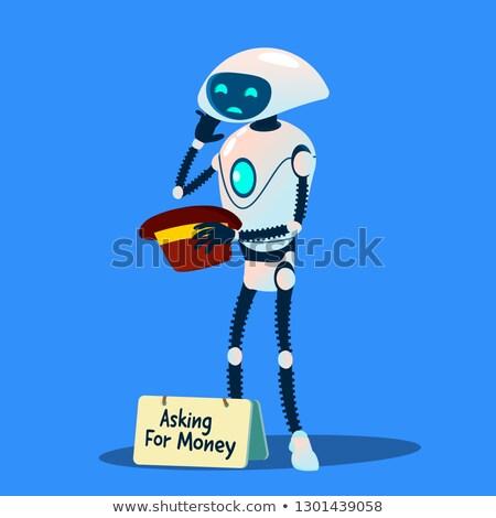 Robot bedelaar vragen geld hoed hand Stockfoto © pikepicture