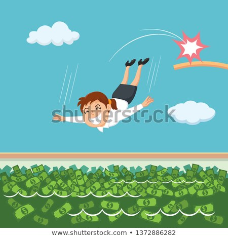 Businesswoman swims in a pool of money Stock photo © alphaspirit