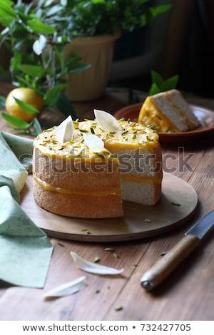 Citrom torta díszített cukormáz felső kilátás Stock fotó © Alex9500