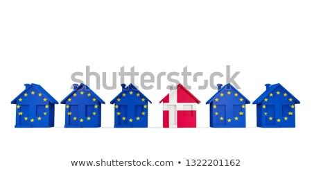 Huis vlag Denemarken rij eu vlaggen Stockfoto © MikhailMishchenko