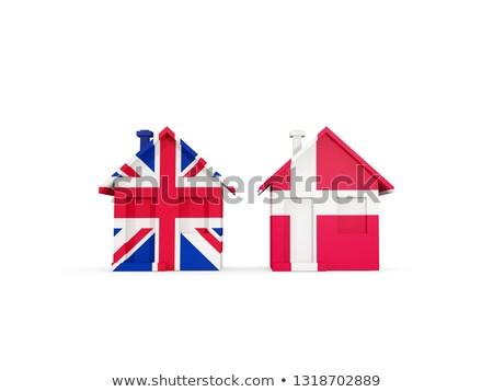 два домах флагами Великобритания Дания изолированный Сток-фото © MikhailMishchenko