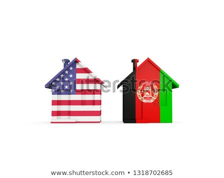 Two houses with flags of United States and afghanistan Stock photo © MikhailMishchenko