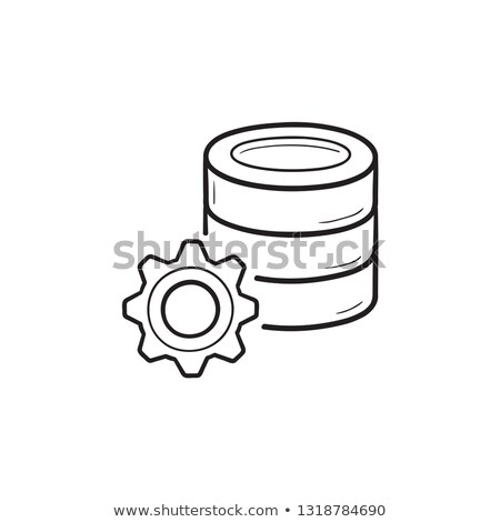 Database cog schets doodle icon Stockfoto © RAStudio