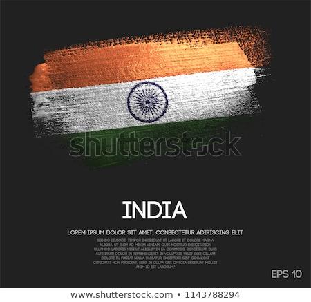Flag of India on metalic background Stock photo © colematt