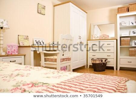 Camera da letto guardaroba blu poltrona illustrazione sfondo Foto d'archivio © colematt