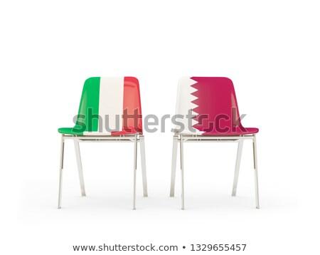 Dwa krzesła flagi Włochy Katar odizolowany Zdjęcia stock © MikhailMishchenko