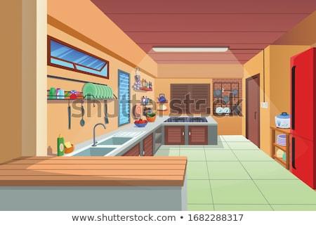 Ilustración cocina vector Cartoon nina feliz Foto stock © Natali_Brill