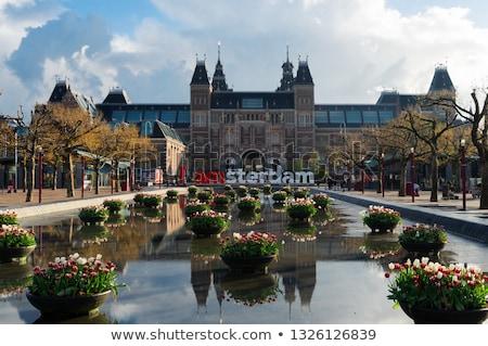 Standbeeld Amsterdam tulpen bloemen Nederland Stockfoto © neirfy