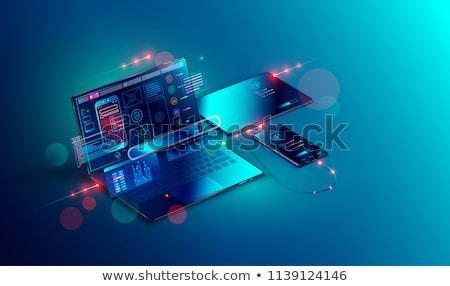izometrik · vektör · iniş · sayfa · şablon · yeni - stok fotoğraf © rastudio