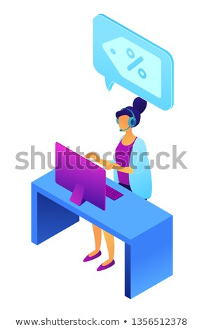Cold calling and female operator with headset isometric 3D illustration. Stock photo © RAStudio