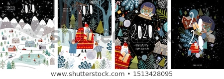 Vrolijk christmas stad boom berg vector Stockfoto © robuart