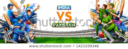 Jogar críquete campeonato esportes ilustração realista Foto stock © vectomart