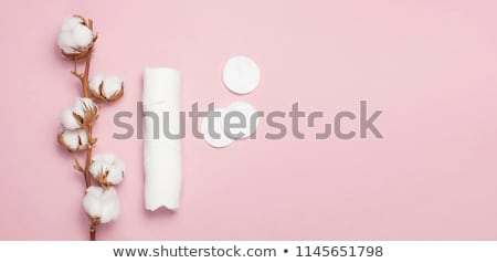 Stockfoto: Branch of cotton plant, eared sticks, cotton pads,