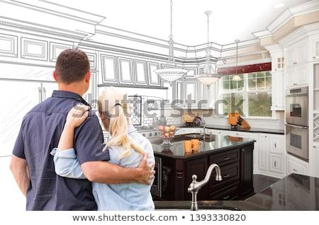 カップル 向い カスタム キッチン 図面 写真 ストックフォト © feverpitch