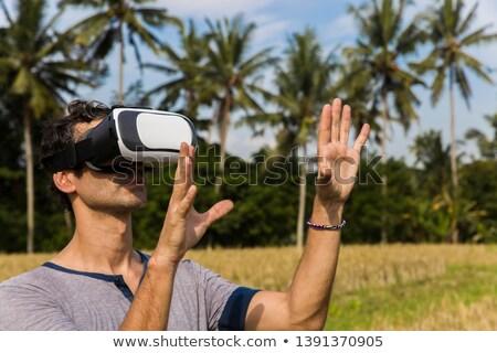 Fiatalember szemüveg trópusi rizsföld visel mező Stock fotó © boggy