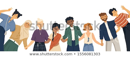 Diverse international group of standing happy women or girls. Flat cartoon characters isolated on wh Stock photo © brahmapootra