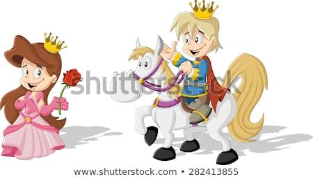 cuento · de · hadas · escena · príncipe · princesa · ilustración · nina - foto stock © bluering