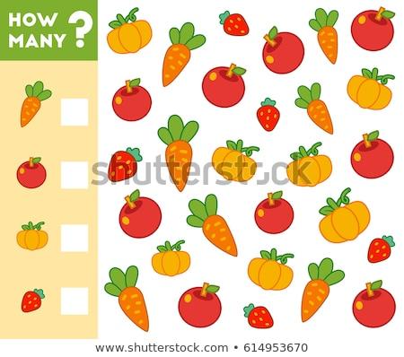 collectie · grappig · groenten · vruchten · lichaam · oranje - stockfoto © izakowski