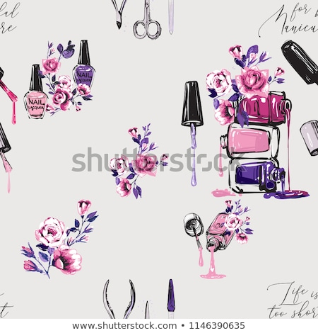 Bottle Of Rose Nail Polish Female Cosmetic Vector Stock photo © pikepicture