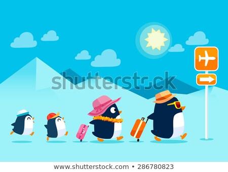 Pinguim mala adeus arte desenho Foto stock © Dazdraperma