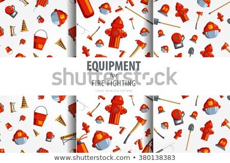 пожарный коллаж цвета вектора оборудование икона Сток-фото © netkov1