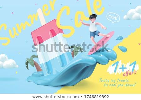 édes nyár vásár árengedmény vektor plakátok Stock fotó © robuart