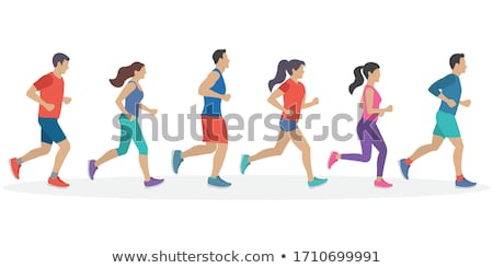 Runner Person on Walk, Guy Jogger in Sport Cloth Stock photo © robuart