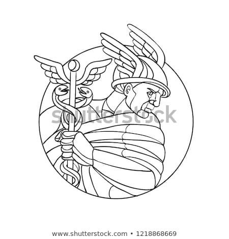Mensageiro mosaico preto e branco baixo polígono estilo Foto stock © patrimonio