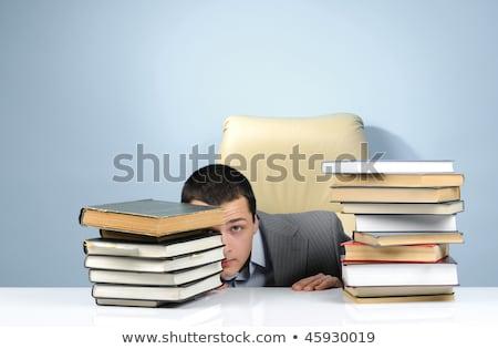 Zakenman verbergen kantoor geïsoleerd witte business Stockfoto © Elnur