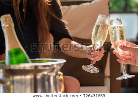 Beautiful two women holding glasses with champagne celebrating C Stock photo © Freedomz