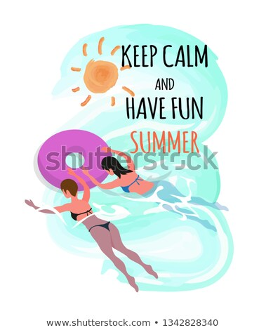 Stock photo: Keep Calm and Have Fun Summer Vector Women in Ring