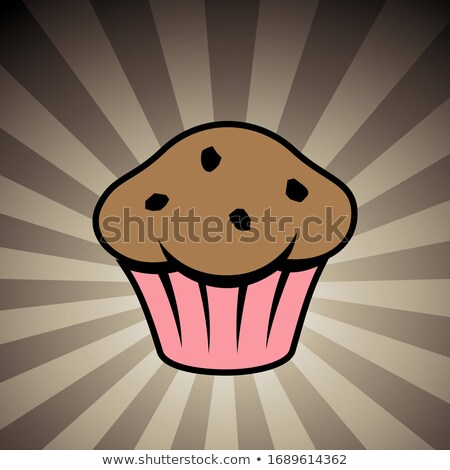 Muffin Icon on a Brown Striped Background Stock photo © cidepix
