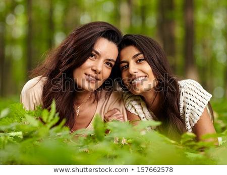 Mãe filha floresta prado família árvore Foto stock © Lopolo