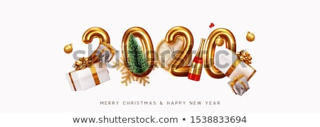 Stock photo: New Year 2020 banner of glitter champagne bottle