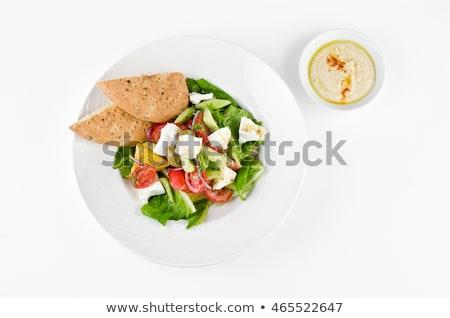 Fehér asztal háttér kenyér tányér sötét Stock fotó © galitskaya