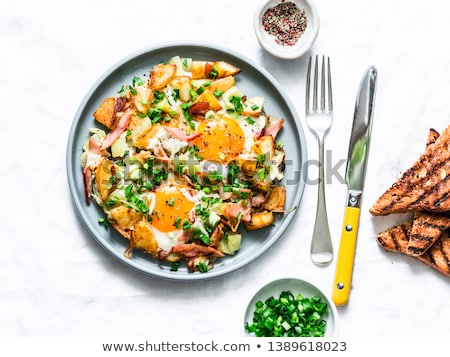 Egg omelet with tortilla bread Stock photo © bdspn