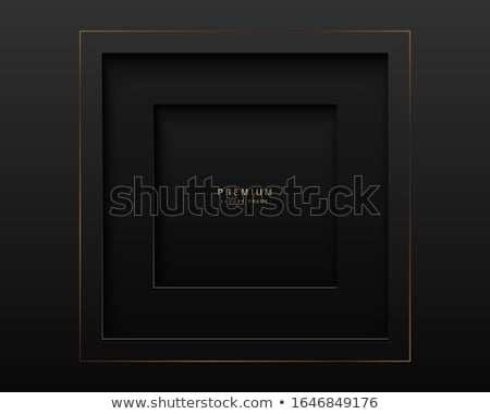 Vector black abstract square paper cut luxury frame. Premium label dark design background. Golden Stock photo © Iaroslava