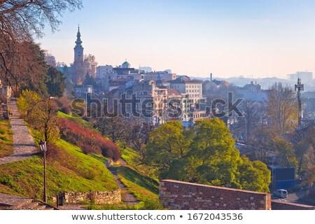 Belgrade. View from Kalemegdan walkway on old city landmarks Stock photo © xbrchx