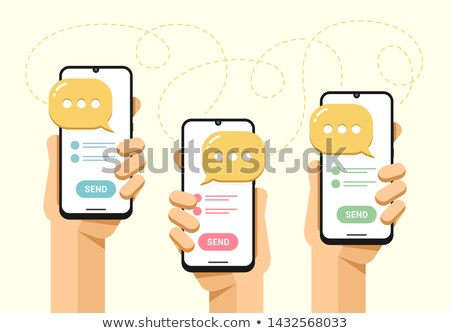 Smartphone mockup in human hand. Messaging with a lot people. SMS send button. Vector flat colorful  Stock photo © karetniy