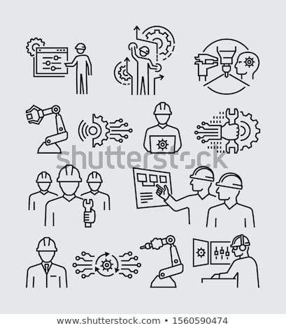 Vizsgálat emberek ikon vektor skicc illusztráció Stock fotó © pikepicture