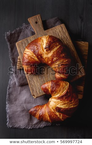 Frissen sült édes croissantok étel öreg Stock fotó © Melnyk