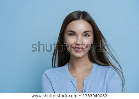 Gyengéd barátnő kellemes megjelenés mosoly fürdő Stock fotó © vkstudio