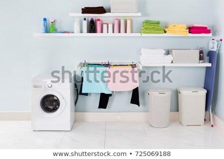 Utility wasserij kamer muur wasmachine interieur Stockfoto © AndreyPopov