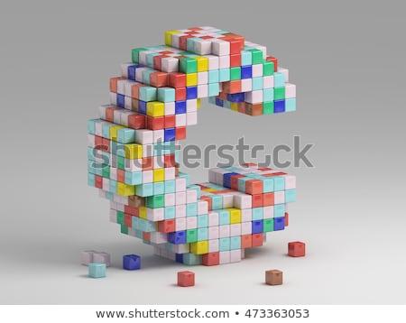 White cube, pixel font Letter C 3D Stock photo © djmilic